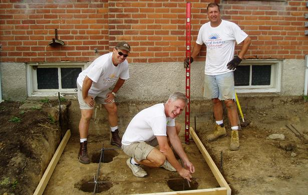 Holy Name members building a ramp, St Joseph Parish